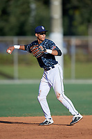 Kristian Campbell (32) during the WWBA World Championship at the Roger Dean Complex on October 13, 2019 in Jupiter, Florida.  Kristian Campbell attends Walton High School in Marietta, GA and is committed to Georgia Tech.  (Mike Janes/Four Seam Images)