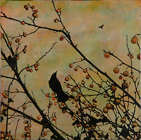 Mixed media encaustic painting of birds with berries and  photo transfer by Jeff League.