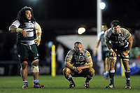 Logovi'i Mulipola, Leonardo Ghiraldini and Mike Fitzgerald of Leicester Tigers look on during a break in play. Aviva Premiership match, between Harlequins and Leicester Tigers on February 19, 2016 at the Twickenham Stoop in London, England. Photo by: Patrick Khachfe / JMP