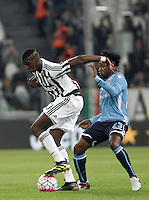 Calcio, Serie A: Juventus vs Lazio. Torino, Juventus Stadium, 20 aprile 2016.<br /> Juventus&rsquo; Paul Pogba, left, is challenged by Lazio&rsquo;s Keita Balde Diao during the Italian Serie A football match between Juventus and Lazio at Turin's Juventus Stadium, 20 April 2016.<br /> UPDATE IMAGES PRESS/Isabella Bonotto
