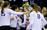 The University of Washington volleyball team defeats WSU 3-0 on November 24, 2017. (Photography by Scott Eklund/Red Box Pictures)