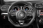 Steering wheel view of a 2011 Volkswagen Golf R 5 Door Hatchback Stock Photo