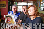 Organisers of Nunday Billy Keane, with Martin and Cora O'Brien with a photo of their son David who commit suicide in 2007