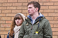 St Patricks Day parade High Street Digbeth.Lad and lass on the slope of the Chapel House side of the High St