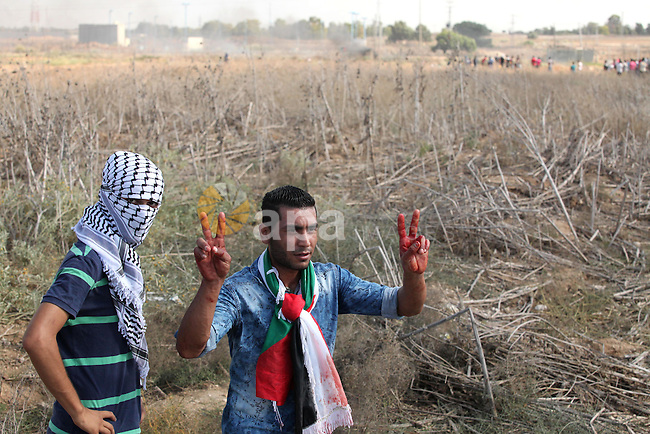 A Palestinian protester flashes victory sign during clashes with Israeli security forces near the border fence between Israel and the Gaza Strip on October 9, 2015 east of Gaza City. Tension and protests rose after an Israeli man on 09 October stabbed four Palestinians in southern Israel, in what is being seen as a revenge attack, officials said. On 08 October several violent incidents happened, including stabbings which left eight Israelis injured, one Palestinian was killed in East Jerusalem and six in the Gaza Strip in clashes with the army while at least six were injured on the West Bank . Photo by Ashraf Amra