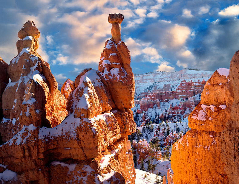 Snow on Hoodoos. Bryce Canyon National Park, Utah
