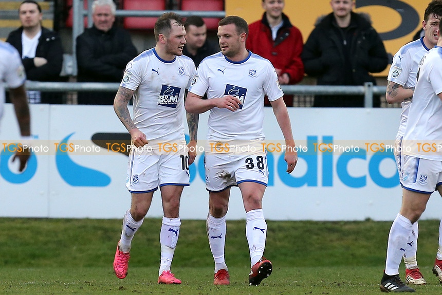 James Norwood of Tranmere Rovers celebrates scoring the fourth goal during Dagenham & Redbridge vs Tranmere Rovers, Vanarama National League Football at the Chigwell Construction Stadium on 10th March 2018