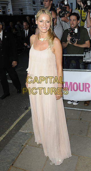 Tess Daly .Attending the Glamour Women Of The Year Awards, Berkeley Square Gardens, .London, England, UK,.June 7th, 2011..outside arrivals full length Halston heritage dress beige pleated long maxi nude sleeveless pink collar necklace side ponytail .CAP/CAN.©Can Nguyen/Capital Pictures.