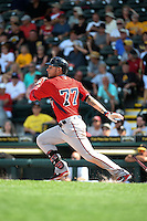 Minnesota Twins outfielder Danny Ortiz (77) during a Spring Training game against the Pittsburgh Pirates on March 13, 2015 at McKechnie Field in Bradenton, Florida.  Minnesota defeated Pittsburgh 8-3.  (Mike Janes/Four Seam Images)