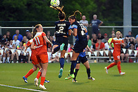Kansas City, MO - Saturday May 07, 2016: FC Kansas City forward Shea Groom (2) and defender Brittany Taylor (13) against the Houston Dash during a regular season National Women's Soccer League (NWSL) match at Swope Soccer Village. Houston won 2-1.