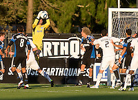 Earthquakes goalkeeper Jon Busch makes a save during the game against the WhiteCaps at Buck Shaw Stadium in Santa Clara, California on July 20th, 2011.  Earthquakes and WhiteCaps are tied 2-2 at the end of the game.