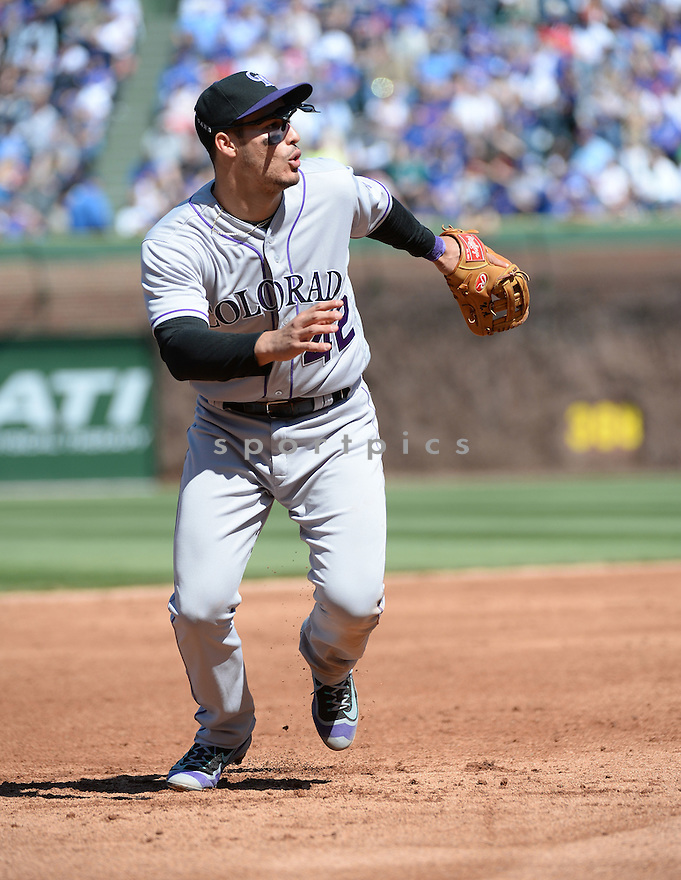 Colorado Rockies Nolan Arenado (28) during a game against the Chicago Cubs on April 15, 2016 at Wrigley Field in Chicago, IL. The Rockies beat the Cubs 6-1.