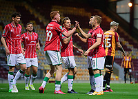 Lincoln City's Anthony Scully celebrates scoring his side's second goal with team-mates<br /> <br /> Photographer Chris Vaughan/CameraSport<br /> <br /> Carabao Cup Second Round Northern Section - Bradford City v Lincoln City - Tuesday 15th September 2020 - Valley Parade - Bradford<br />  <br /> World Copyright © 2020 CameraSport. All rights reserved. 43 Linden Ave. Countesthorpe. Leicester. England. LE8 5PG - Tel: +44 (0) 116 277 4147 - admin@camerasport.com - www.camerasport.com
