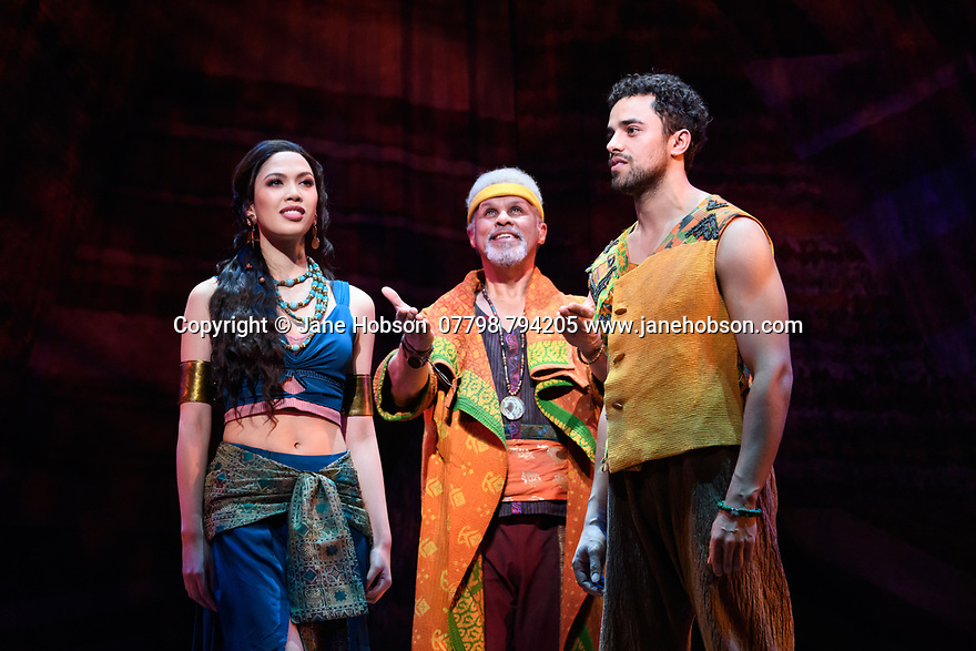 """Christine Allado (Tzipporah), Gary Wilmot (Jethro) and Luke Brady (Moses) in a scene form """"Prince of Egypt"""", at the press photocall at the Dominion Theatre, London. Produced by DreamWorks Theatricals, directed by Scott Schwartz, with choreography by Sean Cheesman, set design by Kevin Depinet, costume design by Ann Hould-Ward and lighting design by Mike Billings."""
