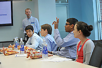 NWA Democrat-Gazette/MICHAEL WOODS • @NWAMICHAELW<br /> Middle School students (from left) Vikash Mody from Los Angeles, Jordan Zietz from Boca Raton Florida, Shreyas Parab from Philadelphia, Pennsylvania, and Kayla Abramowitz from North Palm Beach, Florida, as questions to Sams Club executives Friday September 18, 2015 during a sales pitch meeting in Bentonville.  The students were part of a small group of kids who qualified to visit the Sams Club headquarters to pitch their businesses and to engage in a series of marketing and merchandising workshops.