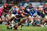 Kahn Fotuali'i of Bath Rugby is double-tackled by George Ford and Sione Kalamafoni of Leicester Tigers. Gallagher Premiership match, between Leicester Tigers and Bath Rugby on May 18, 2019 at Welford Road in Leicester, England. Photo by: Patrick Khachfe / Onside Images