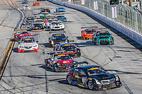 Johnny O'Connell, #3 Cadillac ATS-VR GT3 leads Heavy traffic at the start of the Pirelli World challenge race, Long Beach Grand Prix, Long Beach, CA, April 2015.  (Photo by Brian Cleary/ www.bcpix.com )