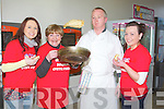 FLIPPING: Chef Brian Keary (Crommane Jack's Restaurane), who got it right the first flip for life in Manor west Retail Park, Shoopping Centre on Sunday looking on were l-R: Eimear Kearney and Ann Broderick (Castleisland), Brian Keary (Crommane) and Ciara Murphy (Castleisland)...