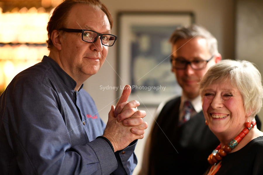MELBOURNE, 30 June 2017 – Philippe Mouchel and Rita Erlich pose for a photograph before a dinner celebrating Philippe Mouchel's 25 years in Australia with six chefs who worked with him in the past at Philippe Restaurant in Melbourne, Australia.