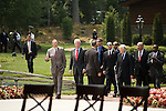 Thursday, May 31, Charlotte, North Carolina. Dedication ceremony for the new Billy Graham Library in Charlotte, North Carolina.. (left to right) Former US presidents George HW Bush, Bill Clinton and Jimmy Carter, third from right right, exit the new library.