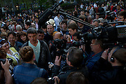 Russian opposition leader Boris Nemtsov is talking to the crowd at Chistye prudy in downtown Moscow 2012