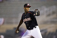 Kannapolis Intimidators relief pitcher Jose Brito (29) in action against the West Virginia Power at Intimidators Stadium on July 3, 2015 in Kannapolis, North Carolina.  The Intimidators defeated the Power 3-0 in a game called in the bottom of the 7th inning due to rain.  (Brian Westerholt/Four Seam Images)