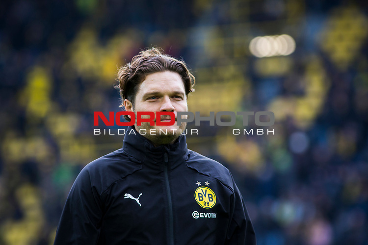 09.02.2019, Signal Iduna Park, Dortmund, GER, 1.FBL, Borussia Dortmund vs TSG 1899 Hoffenheim, DFL REGULATIONS PROHIBIT ANY USE OF PHOTOGRAPHS AS IMAGE SEQUENCES AND/OR QUASI-VIDEO<br /> <br /> im Bild | picture shows:<br /> Edin Terzic (Co-Trainer BVB) vertritt den erkrankten Lucien Favre (Trainer BVB), <br /> <br /> Foto © nordphoto / Rauch