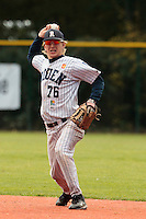 24 October 2010: Luc Piquet of Rouen throws the ball to first base during Rouen 5-1 win over Savigny, during game 4 of the French championship finals, in Rouen, France.