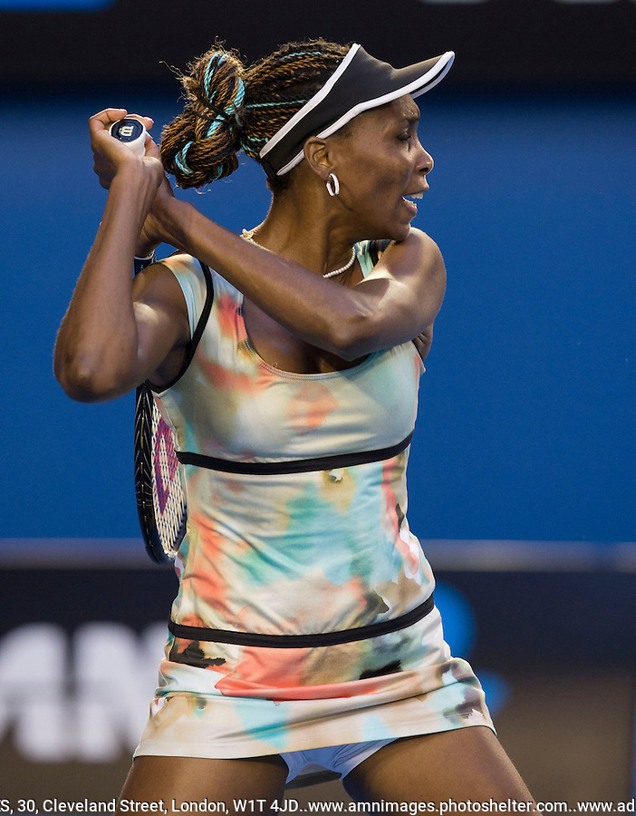 Venus Williams..Tennis - Australian Open - Grand Slam -  Melbourne Park  2013 -  Melbourne - Australia - Friday 18th January  2013. .© AMN Images, 30, Cleveland Street, London, W1T 4JD.Tel - +44 20 7907 6387.mfrey@advantagemedianet.com.www.amnimages.photoshelter.com.www.advantagemedianet.com.www.tennishead.net
