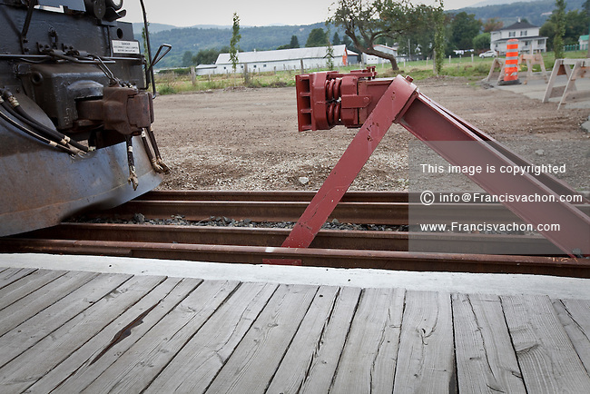 End-of-track bumper post is seen in Baie St-Paul (Quebec, Canada) Friday August 31, 2012.
