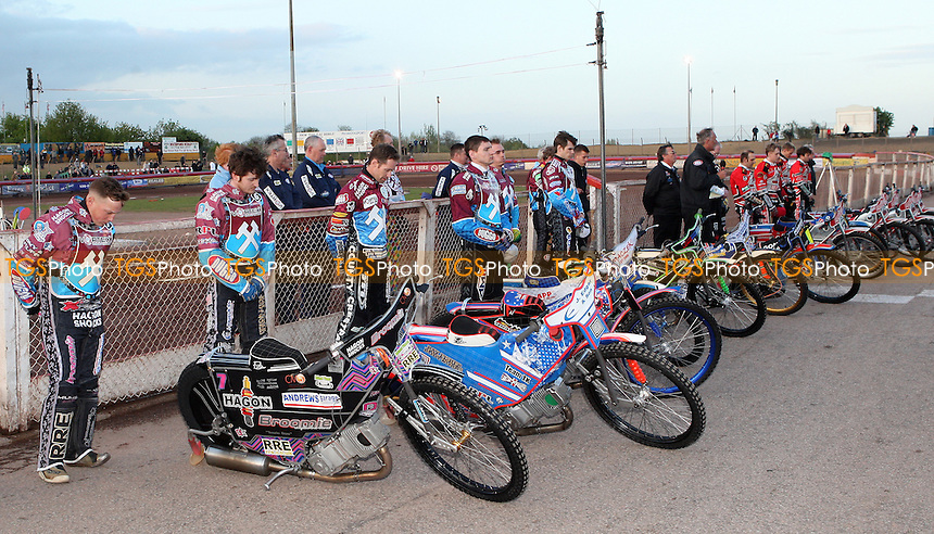 The riders line-up for a minutes silence for Lee Richardson - Lakeside Hammers vs Peterborough Panthers, Elite League Speedway at the Arena Essex Raceway, Pufleet - 10/05/13 - MANDATORY CREDIT: Rob Newell/TGSPHOTO - Self billing applies where appropriate - 0845 094 6026 - contact@tgsphoto.co.uk - NO UNPAID USE.