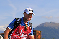Paul Dunne (IRL) caddy Darren walks off the 11th tee during Thursday's Round 1 of the 2017 Omega European Masters held at Golf Club Crans-Sur-Sierre, Crans Montana, Switzerland. 7th September 2017.<br /> Picture: Eoin Clarke | Golffile<br /> <br /> <br /> All photos usage must carry mandatory copyright credit (&copy; Golffile | Eoin Clarke)