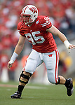 MADISON, WI - SEPTEMBER 9: Defensive lineman Joe Monty #95 of the Wisconsin Badgers plays defense against the Western Illinois Leathernecks at Camp Randall Stadium on September 9, 2006 in Madison, Wisconsin. The Badgers beat the Leathernecks 34-10. (Photo by David Stluka)