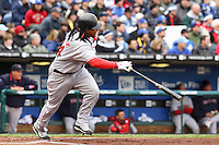Red Sox left fielder Manny Ramirez in action against the Royals at Kauffman Stadium in Kansas City, Missouri on April 5, 2007. Boston won 4-1.