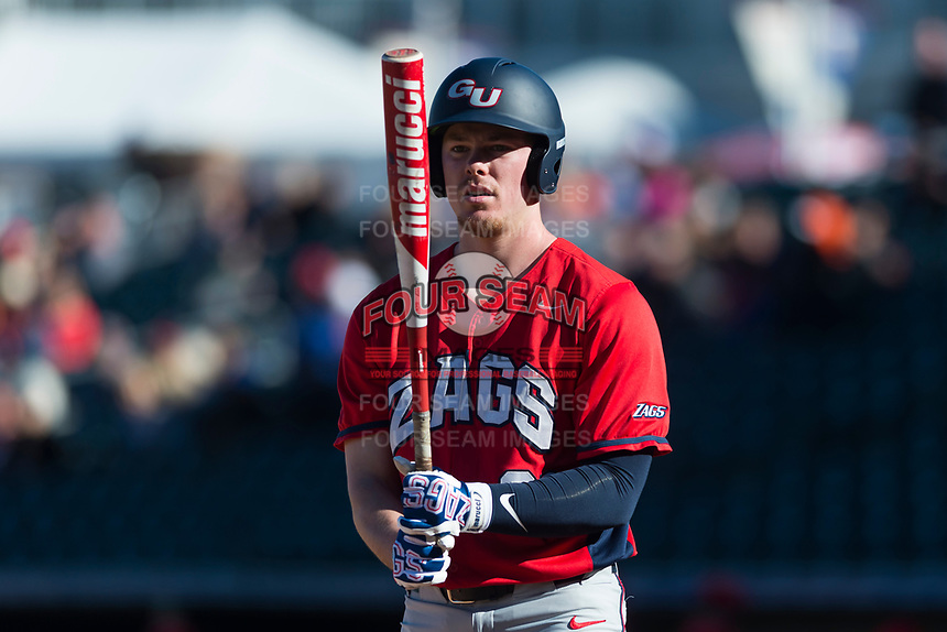Gonzaga Bulldogs right fielder Troy Johnston (21) at bat during a game against the Oregon State Beavers on February 16, 2019 at Surprise Stadium in Surprise, Arizona. Oregon State defeated Gonzaga 9-3. (Zachary Lucy/Four Seam Images)