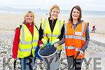 Gillian Warton Slattery (Team Bramble), Mary Dolan (Team Bramble) and Rachel Geary (Banna Coast Care) getting ready to clear litter from Banna Beach on Sunday morning.