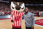 Former Wisconsin Badgers football player and Super Bowl LI Champion James White with mascot Bucky Badger during an NCAA Big Ten Conference men's college basketball game against the Maryland Terrapins Sunday, February 19, 2017, in Madison, Wis. The Badgers won 71-60. (Photo by David Stluka)