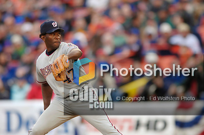 3 April 2006: Felix Rodriguez, pitcher for the Washington Nationals, on the mound during Opening Day play against the New York Mets at Shea Stadium, in Flushing, New York. The Mets defeated the Nationals 3-2 to lead off the 2006 MLB season...Mandatory Photo Credit: Ed Wolfstein Photo..