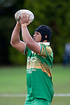 Drury hooker Halaloua Tupou waits to throw to a lineout during the Counties Manukau Premier Club Rugby Game of the Week between Drury & Papakura, played at Drury Domain on Saturday Aprill 11th, 2009..Drury won 35 - 3 after leading 15 - 5 at halftime.