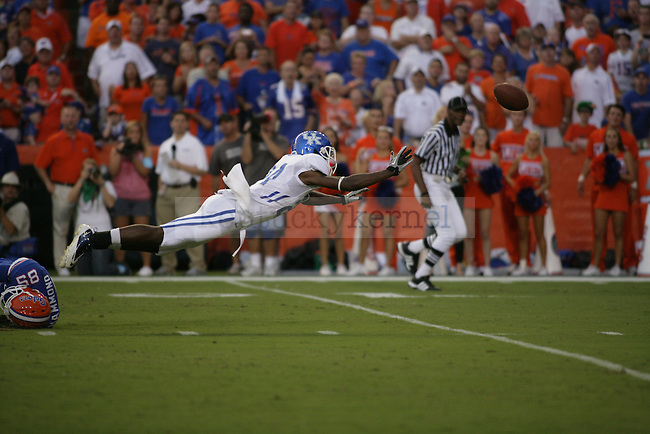 """junior cornerback Randall Burden reaches for an incomplete pass during the first half of UK's game against Florida at the """"Swamp"""" in Gainesville, Florida on Saturday, Sept. 25, 2010. Photo by Brandon Goodwin   Staff"""