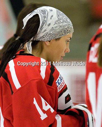 Vanessa Emond (St. Lawrence - 14) - The Harvard University Crimson defeated the St. Lawrence University Saints 8-3 (EN) to win their ECAC Quarterfinals on Saturday, February 26, 2011, at Bright Hockey Center in Cambridge, Massachusetts.