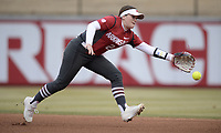NWA Democrat-Gazette/ANDY SHUPE<br /> Arkansas second baseman Nicole Duncan reaches to make a play on a ball against Southeast Missouri Thursday, Feb. 21, 2019, during the first inning at Bogle Park on the university campus in Fayetteville.