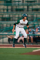 Fort Wayne TinCaps Ethan Skender (3) leads off during a Midwest League game against the Peoria Chiefs on July 17, 2019 at Parkview Field in Fort Wayne, Indiana.  Fort Wayne defeated Peoria 6-2.  (Mike Janes/Four Seam Images)