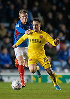 Fleetwood Town's Barrie McKay (right) under pressure <br /> <br /> Photographer David Horton/CameraSport<br /> <br /> The EFL Sky Bet League One - Portsmouth v Fleetwood Town - Tuesday 10th March 2020 - Fratton Park - Portsmouth<br /> <br /> World Copyright © 2020 CameraSport. All rights reserved. 43 Linden Ave. Countesthorpe. Leicester. England. LE8 5PG - Tel: +44 (0) 116 277 4147 - admin@camerasport.com - www.camerasport.com