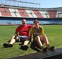"Collect pic of Josuha Rae, who is 6' 1"" despite only being 12 years old, with his dad Robert who accompanied him to Madrid for his trial with Atletico de Madrid."