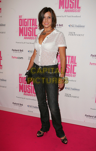 IMOGEN THOMAS.BT Digital Music Awards 2007 held at the Roundhouse, Chalk Farm, London, England, October 2nd 2007..full length white shirt blouse jeans D & G Dolce & Gabbana necklace initials logo.CAP/ROS.©Steve Ross/Capital Pictures