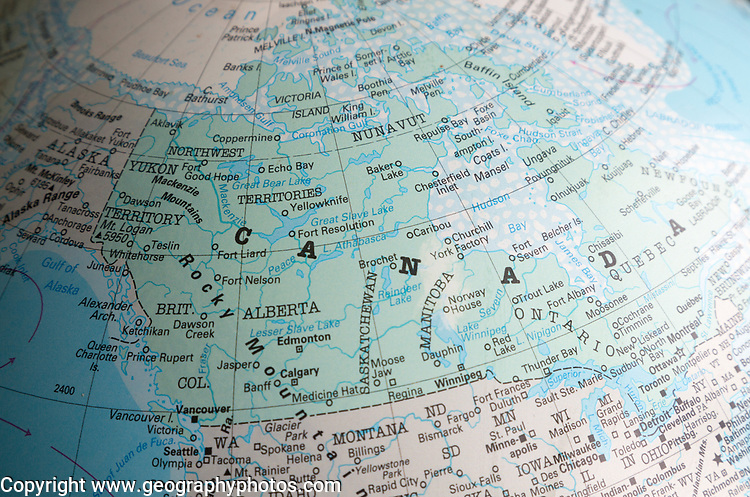 North America map on a globe focused on Canada and USA border