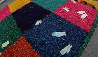 SANTANA DE PARNAÍBA, SP, 30 MAIO 2013 - CORPUS CHRISTI EM SANTANA DE PARANAÍBA - Movimentação na montagem do tradicional tapete de serragem com imagens ligadas a igreja católica que celebra o feriado de Corpus Christi na cidade de Santana de Paranaíba, nesta quinta-feira, 30. O evento realizado pela Igreja Católica traz como tema ?No ano da fé, a eucaristia gera vida em plenitude na vida da comunidade?, que será retratado por mais de 50 quadros nas principais vias do Centro histórico da cidade, com 850 metro de extensão do tapete artesenal montado por fiéis. (FOTO: VANESSA CARVALHO/ BRAZIL PHOTO PRESS).