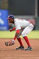 Auburn Doubledays first baseman Diomedes Eusebio (18) during a game against the Batavia Muckdogs on June 16, 2014 at Dwyer Stadium in Batavia, New York.  Batavia defeated Auburn 4-3.  (Mike Janes/Four Seam Images)