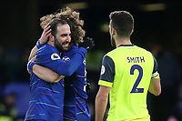 Gonzalo Higuain celebrates his two goals and a Chelsea victory with David Luiz at the final whistle during Chelsea vs Huddersfield Town, Premier League Football at Stamford Bridge on 2nd February 2019